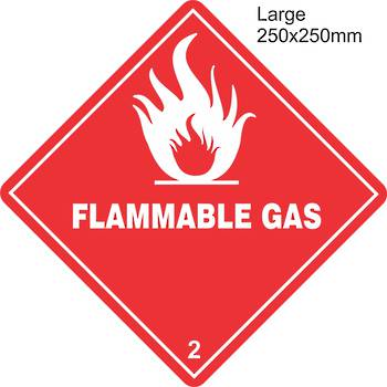 Flammable Gas 2.1 Large Vinyl Single Labels