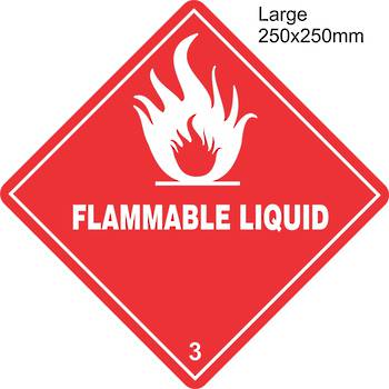 Flammable Liquid 3 Large Vinyl Single Labels